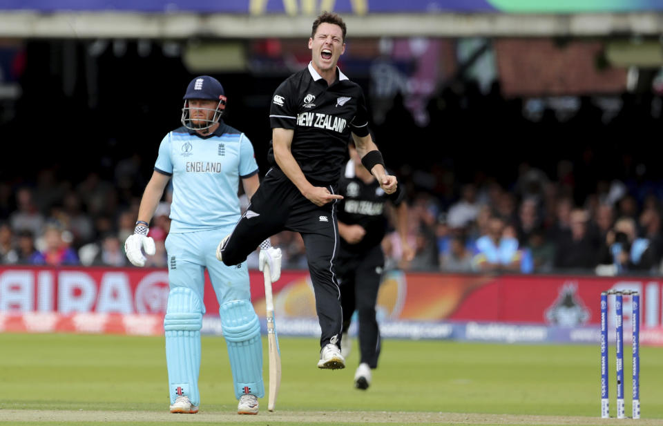 New Zealand's Matt Henry jumps to celebrate the dismissal of England's Jason Roy during the Cricket World Cup final match between England and New Zealand at Lord's cricket ground in London, England, Sunday, July 14, 2019. (AP Photo/Aijaz Rahi)
