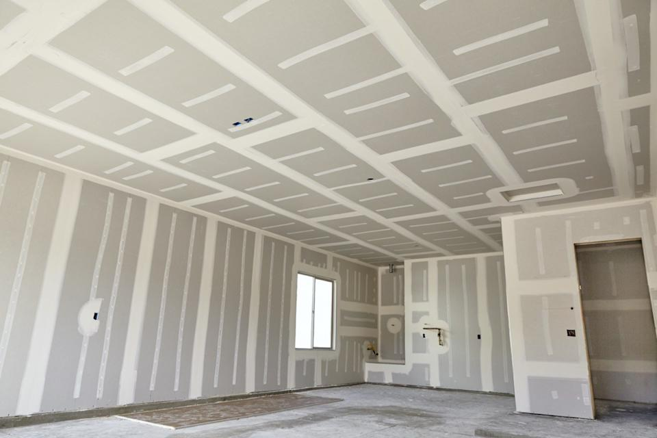room with freshly-taped drywall