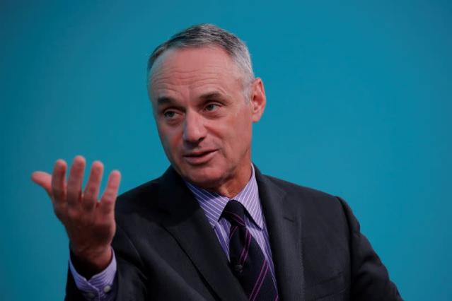 FILE PHOTO: Rob Manfred, commissioner of Major League Baseball, takes part in the Yahoo Finance All Markets Summit in New York