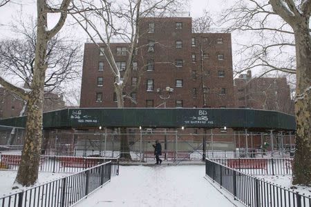A man walks through the Marcy Houses public housing development in the Brooklyn borough of New York January 9, 2015. REUTERS/Stephanie Keith