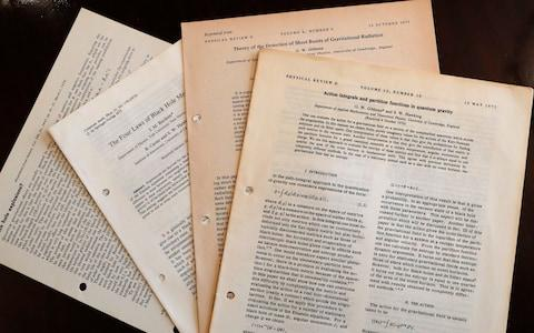 Documents and files by Stephen Hawking - Credit: Frank Augstein AP