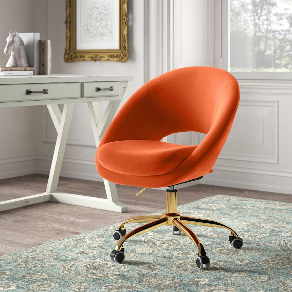 """<h2>Kelly Clarkson Home Task Chair</h2><br><strong>Deal: 37% off</strong><br>Another fan favorite is this vibrant retro-style task chair from Kelly Clarkson Home. Readers applaud the chair for its eye-catching colors, funky shape, and velvety cushy butt support. <br><br><em>Shop</em> <strong><em><a href=""""https://www.wayfair.com/brand/bnd/kelly-clarkson-home-b53111.html"""" rel=""""nofollow noopener"""" target=""""_blank"""" data-ylk=""""slk:Kelly Clarkson Home"""" class=""""link rapid-noclick-resp"""">Kelly Clarkson Home</a></em></strong><br><br><strong>Kelly Clarkson Home</strong> Lourdes Task Chair, $, available at <a href=""""https://go.skimresources.com/?id=30283X879131&url=https%3A%2F%2Fwww.wayfair.com%2Ffurniture%2Fpdp%2Fkelly-clarkson-home-lourdes-task-chair-w003317863.html"""" rel=""""nofollow noopener"""" target=""""_blank"""" data-ylk=""""slk:Wayfair"""" class=""""link rapid-noclick-resp"""">Wayfair</a>"""
