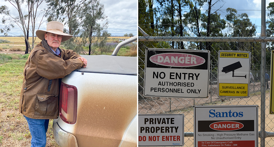 Left - Cattle farmer David Chadwick. Right - The A gate covered in 'No Entry' signs in front of part of the Pilliga gas project.