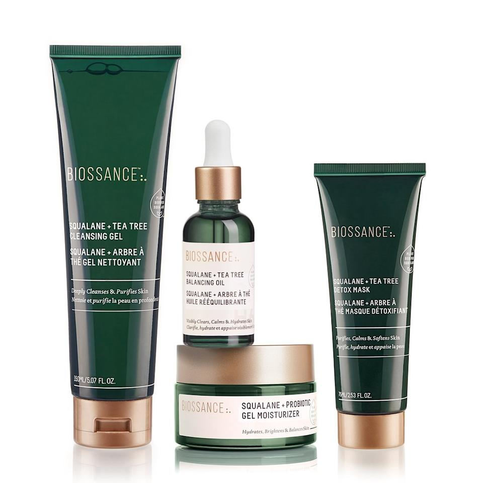 "<p>The key to this treatment kit is a hydrating ingredient <a href=""https://www.allure.com/story/squalane-vs-squalene-skin-care-difference?mbid=synd_yahoo_rss"">known as squalane</a>. The set includes Squalane + Tea Tree Cleansing Gel to deeply cleanse skin and remove makeup, Squalane + Tea Tree Detox Mask to purify and calm skin, Squalane + Probiotic Gel Moisturizer to help minimize redness with probiotics, and Squalane + Tea Tree Balancing Oil to reduce the look of acne while helping diminish it.</p> <p><strong>$99</strong> (<a href=""https://biossance.com/products/skin-balancing-starter-kit"" rel=""nofollow"">Shop Now</a>)</p>"