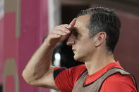 United States' coach Vlatko Andonovski reacts during a women's semifinal soccer match against Canada at the 2020 Summer Olympics, Monday, Aug. 2, 2021, in Kashima, Japan. (AP Photo/Fernando Vergara)