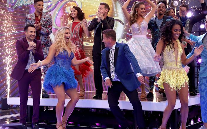 (L-R back row) David James, Emma Barton, Chris Ramsey, Catherine Tyldesley and Dev Griffin, (L-R front row) Will Bayley, Saffron Barker, Mike Bushell and Alex Scott attend the