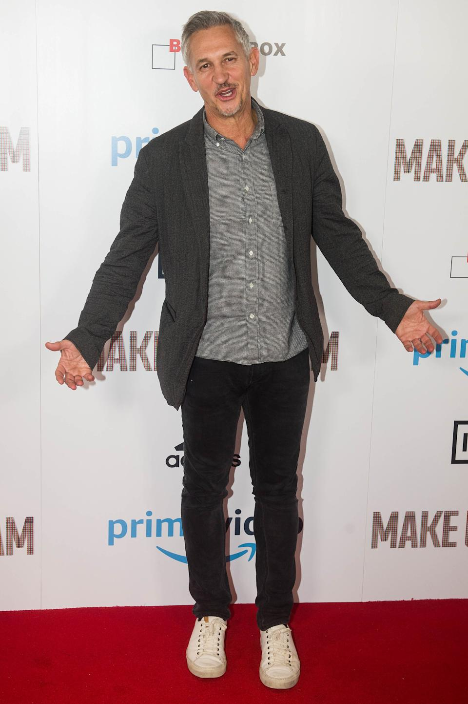 Gary Lineker at the world premiere for Make Us Dream, a documentary about former footballer Steven Gerrard, at the Curzon Soho in London.