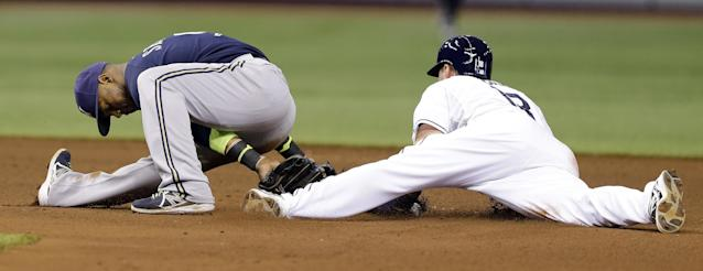Milwaukee Brewers shortstop Jean Segura, left, tries a between the legs tag on Tampa Bay Rays' Ben Zobrist as he steals second base during the fourth inning of an interleague baseball game Monday, July 28, 2014, in St. Petersburg, Fla. (AP Photo/Chris O'Meara)