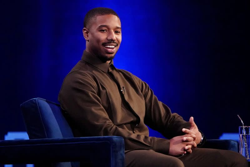 FILE PHOTO: Actor Michael B. Jordan speaks with Oprah Winfrey on stage during a taping of her TV show in Manhattan