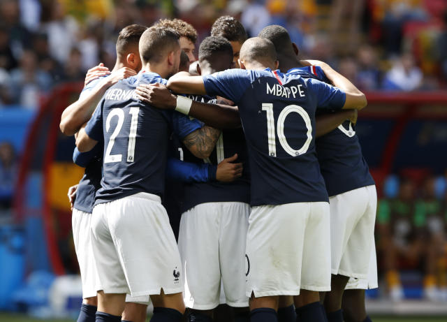 France players celebrates after scoring their side's first goal during the group C match between France and Australia at the 2018 soccer World Cup in the Kazan Arena in Kazan, Russia, Saturday, June 16, 2018. (AP Photo/Darko Bandic)