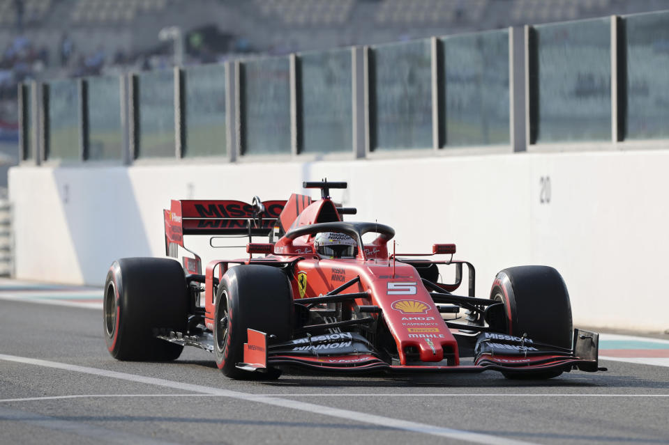 Ferrari driver Sebastian Vettel of Germany steers his car during the third free practice at the Yas Marina racetrack in Abu Dhabi, United Arab Emirates, Saturday, Nov. 30, 2019. The Emirates Formula One Grand Prix will take place on Sunday. (AP Photo/Kamran Jebreili)