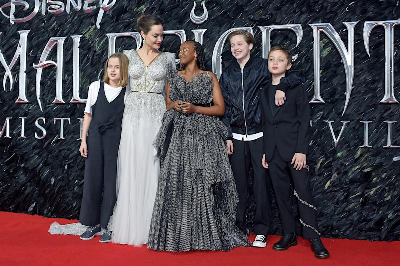 Angelina Jolie and children at