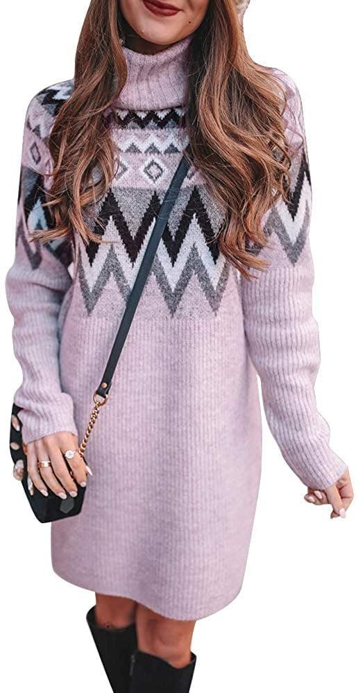 <p>Wear this <span>Exlura Geometry Pattern Sweater Dress</span> ($28) over leggings as a top, or on its own as a dress. </p>