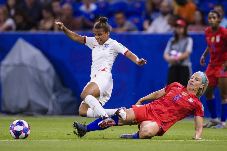 Nikita Parris of England (L) is challenged by Julie Ertz of United States (R) during the 2019 FIFA Women's World Cup France Semi Final match between England and USA at Stade de Lyon on July 2, 2019 in Lyon, France. (Photo by Marcio Machado/Getty Images)