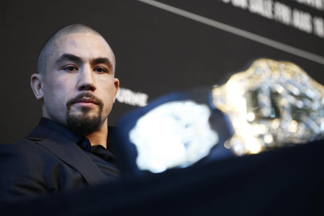 Robert Whittaker speaks during a UFC 243 press conference at Federation Square on Aug. 15, 2019, in Melbourne, Australia. (Getty Images)