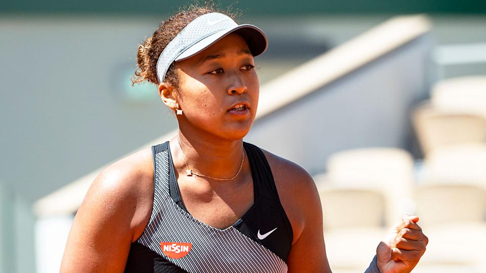 Naomi Osaka is seen here during the 2021 French Open tournament before she withdrew.