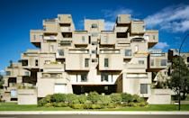 <p>Habitat 67 is a cubist housing complex that was built for the 1967 World Expo. Designed by architect Moshe Safdie it was meant to re-imagine apartment living to be more in line with the utopian ideals of the 1960s. The result is a 13-story apartment building that resembles something a toddler would make out of building blocks. Its sprawling interconnected design sits on a man-made peninsula near the city's Old Port making it easy to admire from a distance.</p>