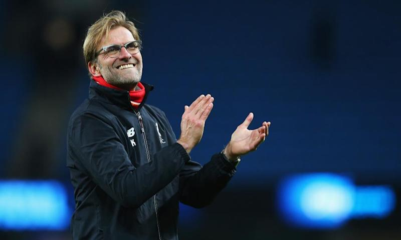 Jürgen Klopp applauds Liverpool's travelling supporters after what was his eight game in charge and the highlight of his tenure up to that point