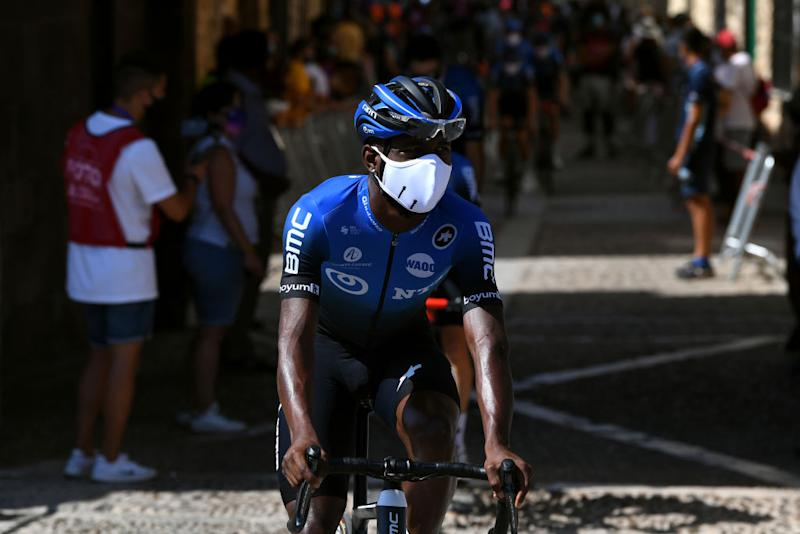 LAGUNAS DE NEILA SPAIN AUGUST 01 Start Nicholas Dlamini of South Africa and Team NTT Pro Cycling Covarrubias Village during the 42nd Vuelta a Burgos 2020 Stage 5 a 158km stage from Covarrubias to Lagunas de Neila 1872m VueltaBurgos on August 01 2020 in Lagunas de Neila Spain Photo by David RamosGetty Images