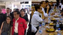 Indonesian president Joko Widodo gets mobbed by fans during outing to eat fried duck in Lucky Plaza
