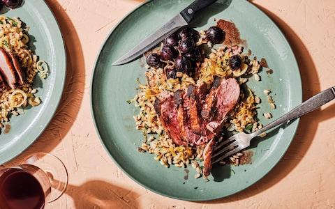 Duck breasts with roasted grapes, farro, shallots and parsley recipe - Credit: Haarala hamilton