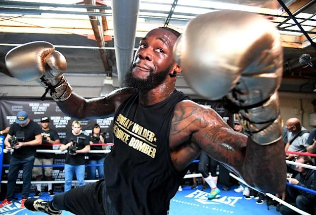 "A panel of heavyweight greats said that WBC Heavyweight Champion Deontay Wilder, pictured November 5, 2018, is a ""devastating puncher"" who will manage to knock out British challenger Tyson Fury (AFP Photo/Jayne Kamin-Oncea)"