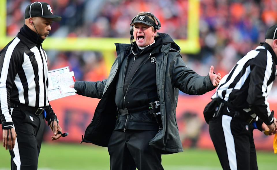 Oakland Raiders head coach Jon Gruden reacts following a penalty in the second half against the Denver Broncos at Empower Field at Mile High.