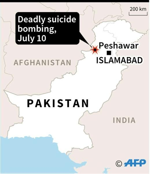 The location of Tuesday's suicide bombing in Peshawar
