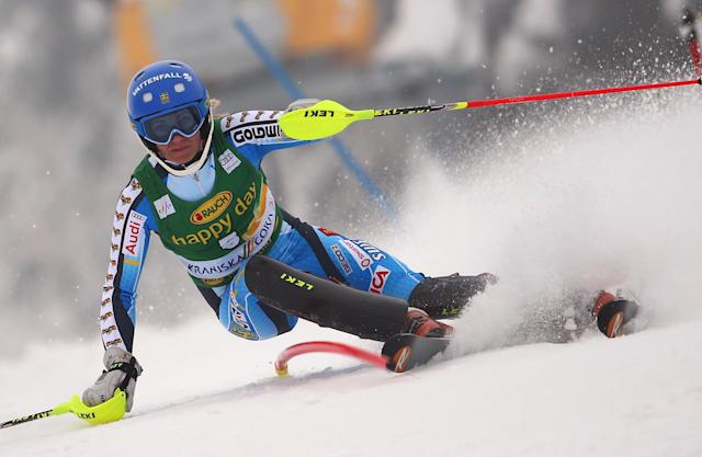 Frida Hansdotter of Sweden competes during the first run of a alpine women's World Cup Slalom in Kranjska Gora, Slovenia, Sunday, Feb. 2, 2014. (AP Photo/Giovanni Auletta)