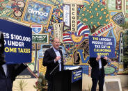 FILE - In this Wednesday, May 12, 2021, file photo, Kevin Faulconer, a Republican candidate for California governor, speaks during a news conference in Downey, Calif, where he announced his $15 billion tax-cut proposal. A fading coronavirus crisis and an astounding windfall of tax dollars have reshuffled California's emerging recall election, allowing Democratic Gov. Gavin Newsom to talk of a mask-free future and propose billions in new spending for schools and businesses as he looks to fend off Republicans who depict him as a foppish failure. (AP Photo/Michael R. Blood, File)