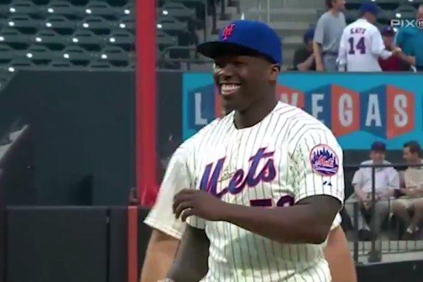 50 Cent Throws Possibly Worst First Pitch Ever at NY Mets Game (Video)