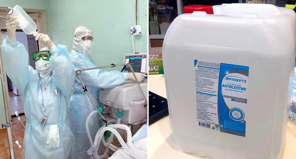 Doctors work on a patient in hospital and a container of hand sanitiser is pictured.