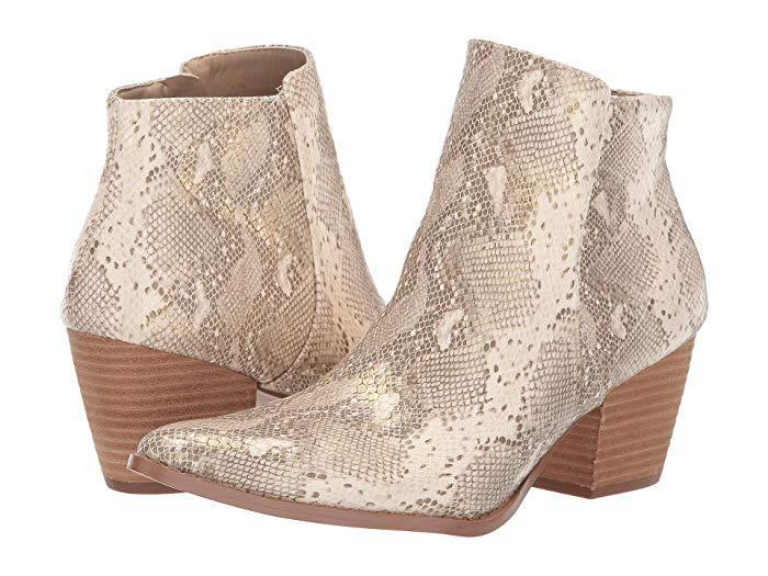 "<h3>Matisse Astoria Bootie</h3><br>""Love these! I could not wait to wear them so on their first time out I spent four hours standing, socializing and walking city streets. No blisters. They are fairly comfortable, stable and the gold snakeskin looks so fabulous that someone told me Prince would be jealous of my shoes."" – Lynsey<br><br><strong>Matisse</strong> Astoria Bootie, $, available at <a href=""https://go.skimresources.com/?id=30283X879131&url=https%3A%2F%2Fwww.zappos.com%2Fp%2Fmatisse-astoria-bootie-natural%2Fproduct%2F9171882%2Fcolor%2F19"" rel=""nofollow noopener"" target=""_blank"" data-ylk=""slk:Zappos"" class=""link rapid-noclick-resp"">Zappos</a>"