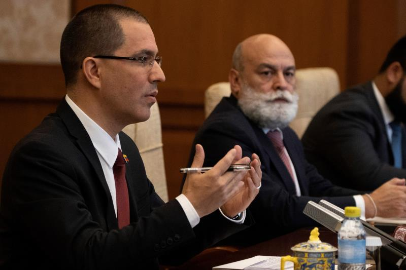 Venezuela's Foreign Minister Jorge Arreaza (L) gestures during a meeting with Chinese Foreign Minister Wang Yi (not pictured) at the Diaoyutai State Guest House in Beijing, China, 16 January 2020. EFE/EPA/Ng Han Guan / POOL