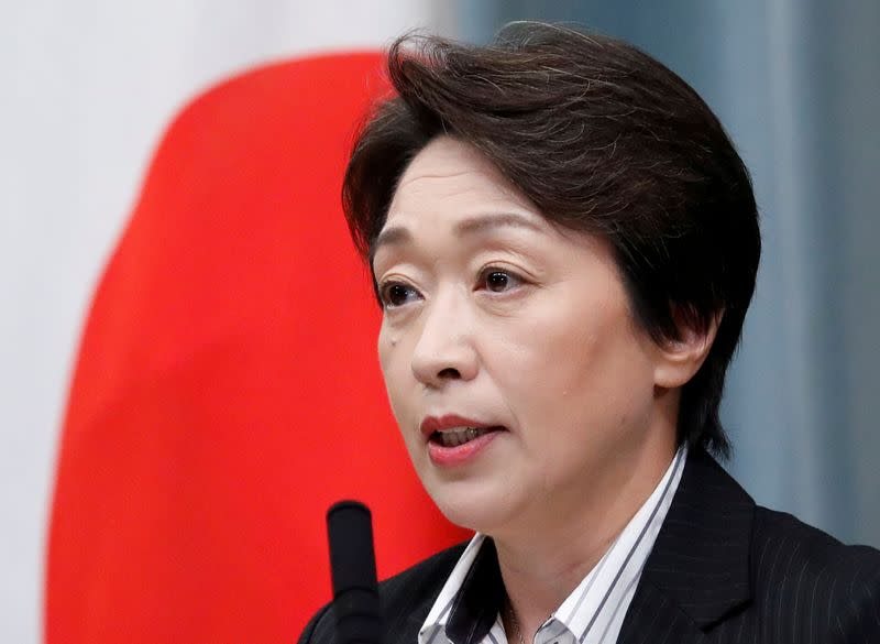 FILE PHOTO: Japan's Olympics Minister Hashimoto attends a news conference at PM Abe's official residence in Tokyo