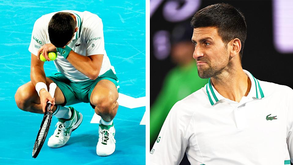 Novak Djokovic (pictured right) after a point at the Australian Open and (pictured left) in pain from an injury.