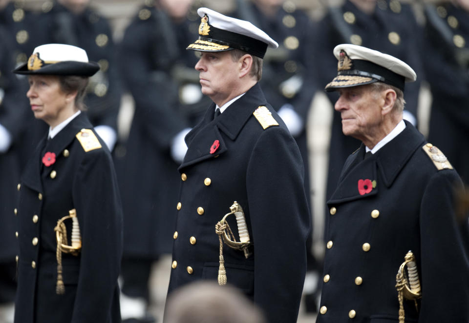 Princess Anne, Prince Andrew and Duke of Edinburgh at the Remembrance Sunday ceremony at the Cenotaph, Whitehall, London.