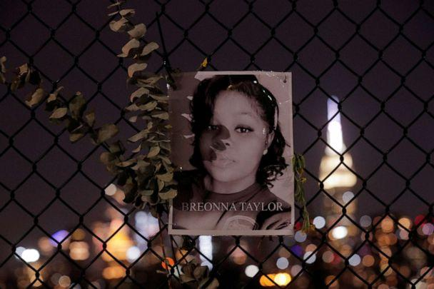 PHOTO: A picture of Breonna Taylor is seen at a makeshift memorial for victims of racial injustice, following the announcement of a single indictment in Taylor's case, in Brooklyn, N.Y., Sept. 24, 2020. (Brendan Mcdermid/Reuters)