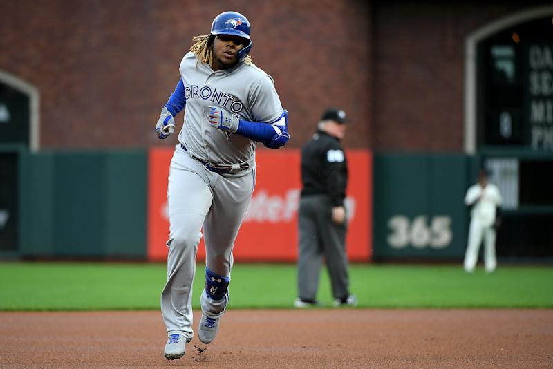 SAN FRANCISCO, CALIFORNIA - MAY 14: Vladimir Guerrero Jr. #27 of the Toronto Blue Jays runs the bases after hitting his first MLB home run against the San Francisco Giants during their game at Oracle Park on May 14, 2019 in San Francisco, California. (Photo by Robert Reiners/Getty Images)