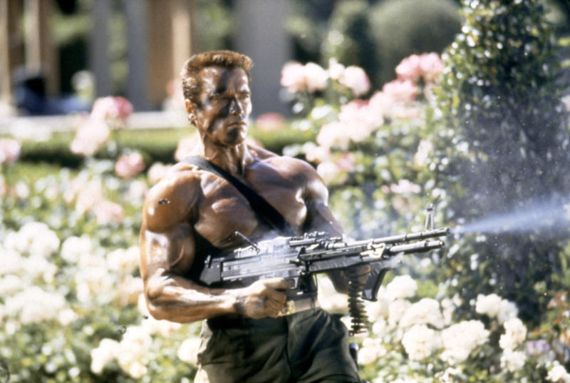 Austrian-born American actor Arnold Schwarzenegger on the set of Commando, directed by Mark L. Lester. (Photo by Twentieth Century Fox Film Corporation/Sunset Boulevard/Corbis via Getty Images)
