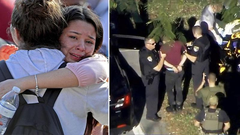 (Left) Parents and children break into tears after the 'Code Red' lockdown and (right) a man is taken into custody following the shooting. Source: Getty
