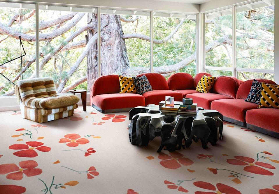 """<p>If short on wall space, a large-scale patterned floor is a brilliantly bold and effective way to introduce pattern. To avoid overkill, try different pattern styles in your furnishings within the same colour family. 'California Poppy' by Rodarte from £3,572 for 1.83 x 1.22 metre, <a href=""""https://www.therugcompany.com/uk/shop-collection/new-in/4666-california-poppy.html"""" rel=""""nofollow noopener"""" target=""""_blank"""" data-ylk=""""slk:therugcompany.com"""" class=""""link rapid-noclick-resp"""">therugcompany.com</a></p>"""