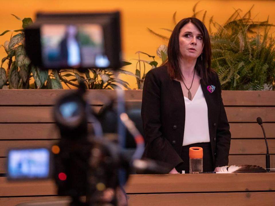 Jeanie McLean said in the Yukon legislative assembly Thursday that the Hidden Valley sexual abuse case wasn't part of the briefings she was given when she took over the education portfolio following the territorial election this spring. (Vincent Bonnay/Radio-Canada - image credit)