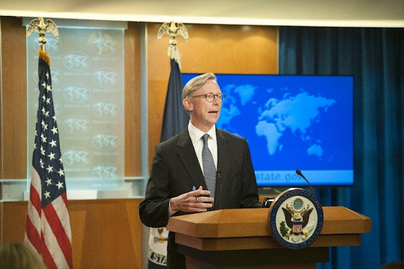 US special representative for Iran Brian speaking at the State Department in August