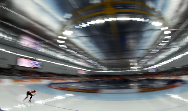 Ireen Wust, of the Netherlands, competes during the women's 3,000-meter competition at the 2014 Winter Olympics, Sunday, Feb. 9, 2014, in Sochi, Russia