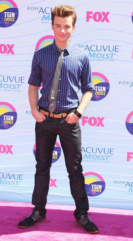 Actor Chris Colfer arrives at the 2012 Teen Choice Awards at Gibson Amphitheatre on July 22, 2012 in Universal City, California.