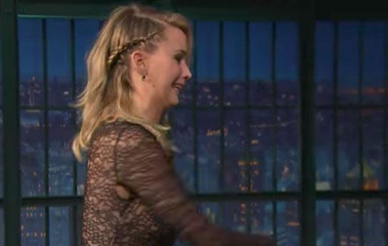 As JLaw recounted the time she got into a 'real bar fight', she animatedly made some bold hand gestures, and the enthusiastic moving around of her arms is what made the malfunction all the more noticeable. Source: Late Night with Seth Meyers