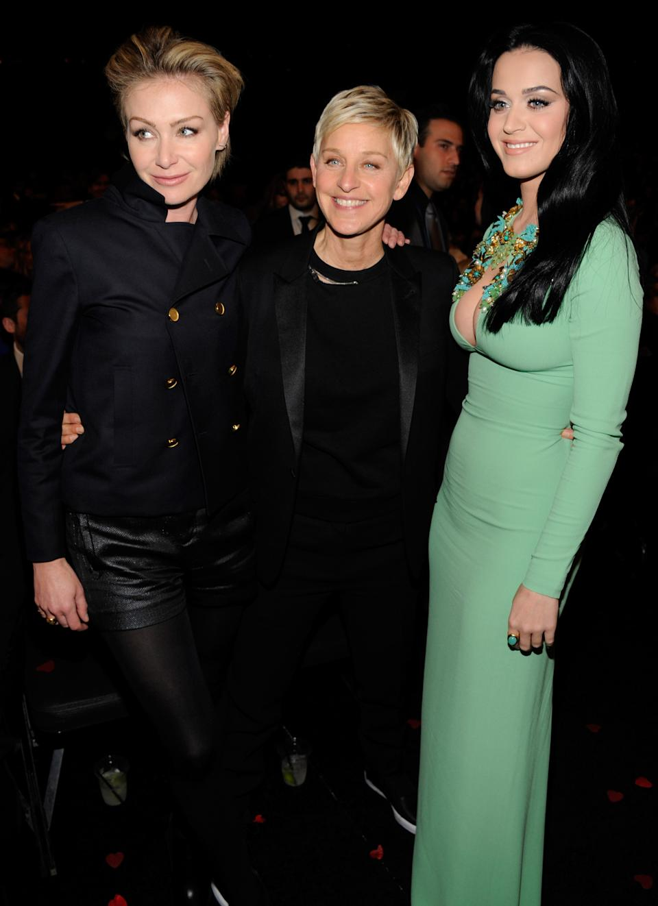 LOS ANGELES, CA - FEBRUARY 10:  Portia deRossi, Ellen DeGeneres and Katy Perry attend the 55th Annual GRAMMY Awards at STAPLES Center on February 10, 2013 in Los Angeles, California.  (Photo by Kevin Mazur/WireImage)