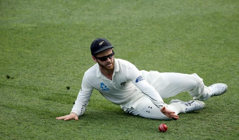 Kane Williamson of New Zealand fields on day four of their third Test match against South Africa, at Seddon Park in Hamilton, on March 28, 2017