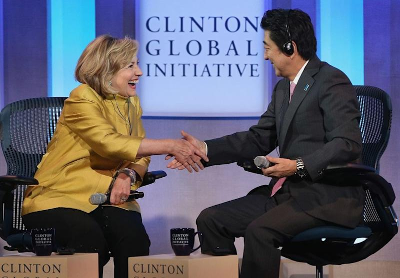 Hillary Clinton interviewing Japanese Prime Minister Shinzo Abe